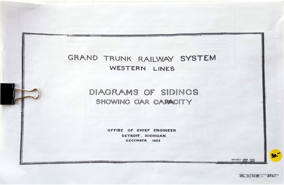 Grand Trunk Western 1922 Track Charts